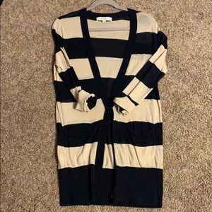 Loft Tan & Navy lightweight cardigan